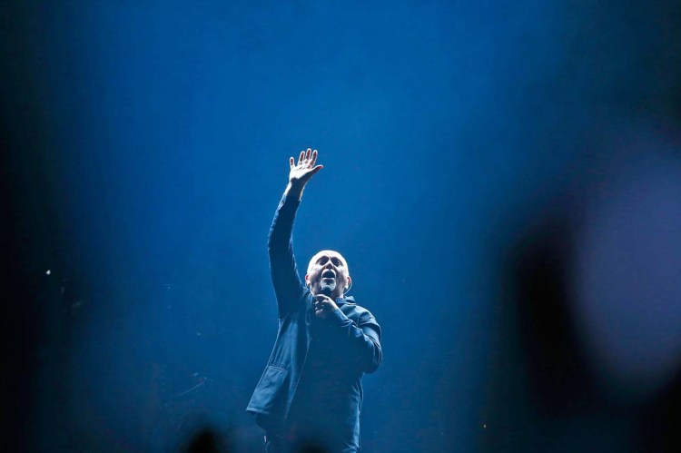 Peter Gabriel performs on of his songs at the start of the Rock, Paper, Scissors tour with Sting at Nationwide Arena on June 21, 2016.   (Chris Russell/Dispatch Photo)
